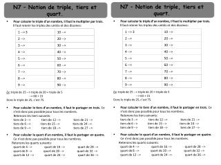 N7 – Notion de triple, tiers et quart.