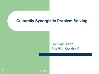 Culturally Synergistic Problem Solving