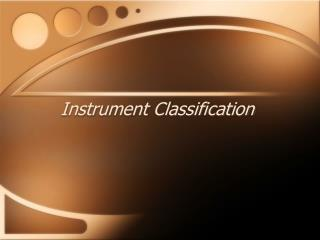 Instrument Classification