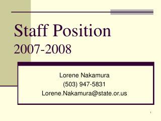 Staff Position 2007-2008