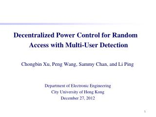 Decentralized Power Control for Random Access with Multi-User Detection