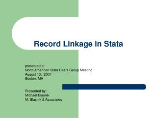 Record Linkage in Stata