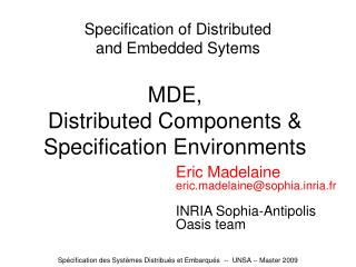 Specification of Distributed and Embedded Sytems