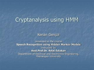 Cryptanalysis using HMM