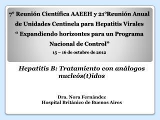 Hepatitis B: Tratamiento con análogos nucleós(t)idos Dra. Nora Fernández