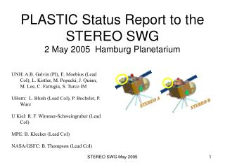 PLASTIC Status Report to the STEREO SWG 2 May 2005  Hamburg Planetarium