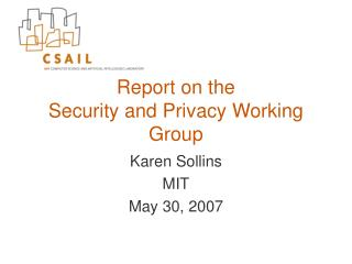 Report on the Security and Privacy Working Group