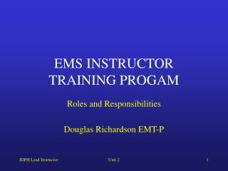EMS INSTRUCTOR TRAINING PROGAM