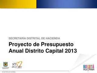 Proyecto de Presupuesto Anual Distrito Capital 2013