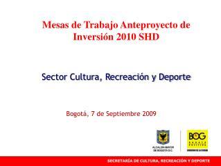 Mesas de Trabajo Anteproyecto de Inversión 2010 SHD