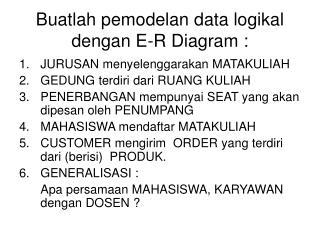 Buatlah pemodelan data logikal dengan E-R Diagram :