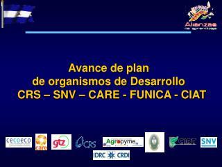 Avance de plan  de organismos de Desarrollo   CRS � SNV � CARE - FUNICA - CIAT