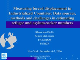 Khassoum Diallo Senior Statistician FICSS/DOS UNHCR New York, December 4-7, 2006
