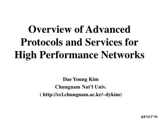 Overview of Advanced Protocols and Services for High Performance Networks
