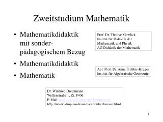 Zweitstudium Mathematik