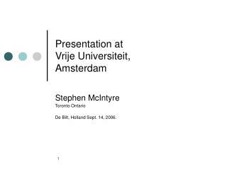 Presentation at Vrije Universiteit,  Amsterdam