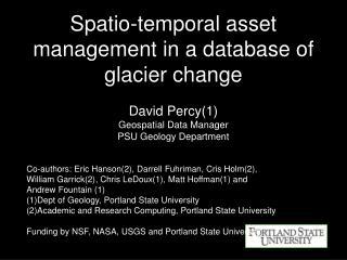 Spatio-temporal asset management in a database of glacier change