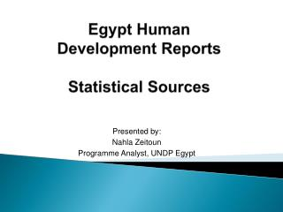 Egypt Human  Development Reports  Statistical Sources