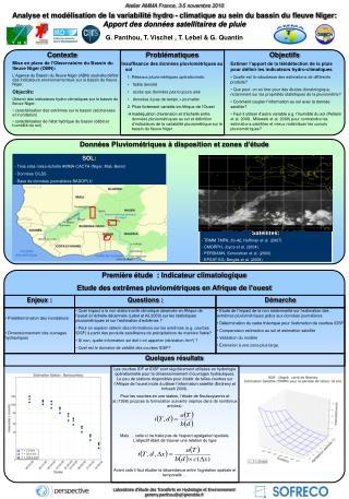 Laboratoire d'étude des Transferts en Hydrologie et Environnement geremy.panthou@ujf-grenoble.fr