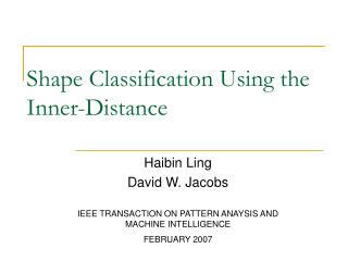 Shape Classification Using the Inner-Distance