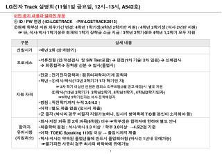 LG 전자  Track  설명회  (11 월 1 일 금요일 , 12 시 ~13 시 , A542 호 )