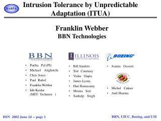 Intrusion Tolerance by Unpredictable Adaptation (ITUA)