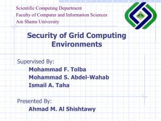 Scientific Computing Department Faculty of Computer and Information Sciences Ain Shams University