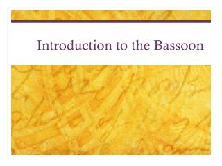 Introduction to the Bassoon