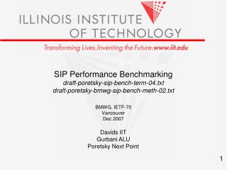SIP Performance Benchmarking draft-poretsky-sip-bench-term-04.txt