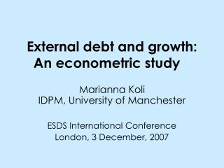 External debt and growth: An econometric study