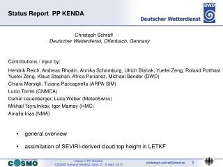 Status Report  PP KENDA