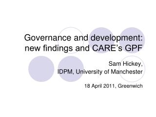 Governance and development:  new findings and CARE's GPF