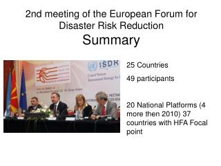 2nd meeting of the European Forum for Disaster Risk Reduction Summary