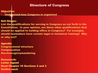 Structure of Congress