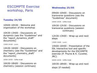 ESCOMPTE Exercise workshop, Paris