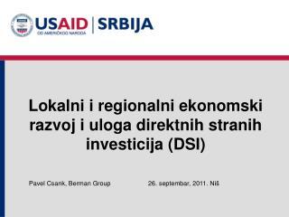 Lokalni i regionalni ekonomski razvoj i uloga direktnih stranih investicija (DSI)
