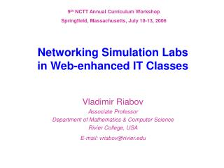 Networking Simulation Labs  in Web-enhanced IT Classes