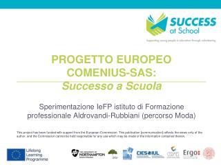 PROGETTO EUROPEO  COMENIUS-SAS:  Successo a Scuola