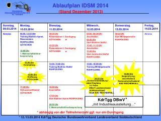 Ablaufplan IDSM 2014