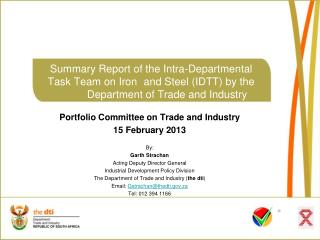 Portfolio Committee on Trade and Industry 15 February 2013