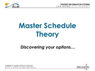 Master Schedule Theory