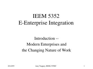 IEEM 5352 E-Enterprise Integration