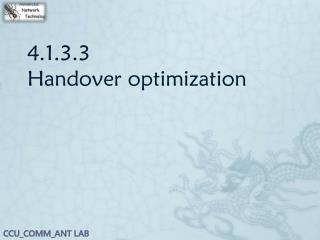 4.1.3.3 Handover optimization