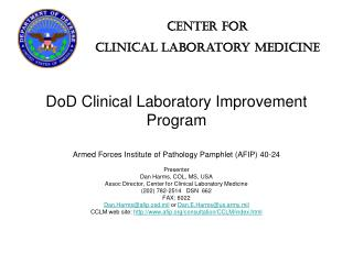 DoD Clinical Laboratory Improvement Program