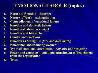 EMOTIONAL LABOUR topics