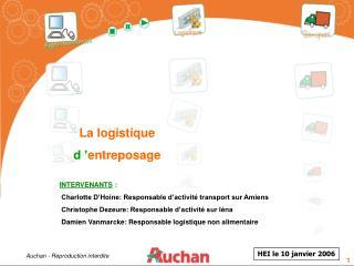 INTERVENANTS  :  Charlotte D'Hoine: Responsable d'activité transport sur Amiens