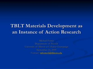 TBLT Materials Development as an Instance of Action Research