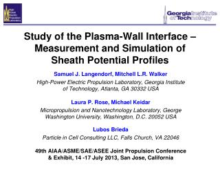 Study of the Plasma-Wall Interface – Measurement and Simulation of Sheath Potential Profiles