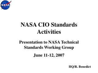NASA CIO Standards Activities