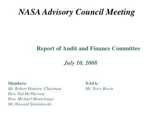 NASA Advisory Council Meeting